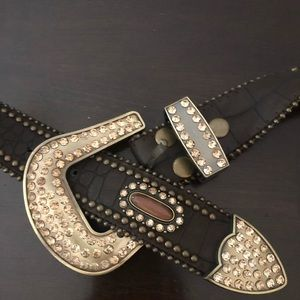 Leather belt with rhinestones